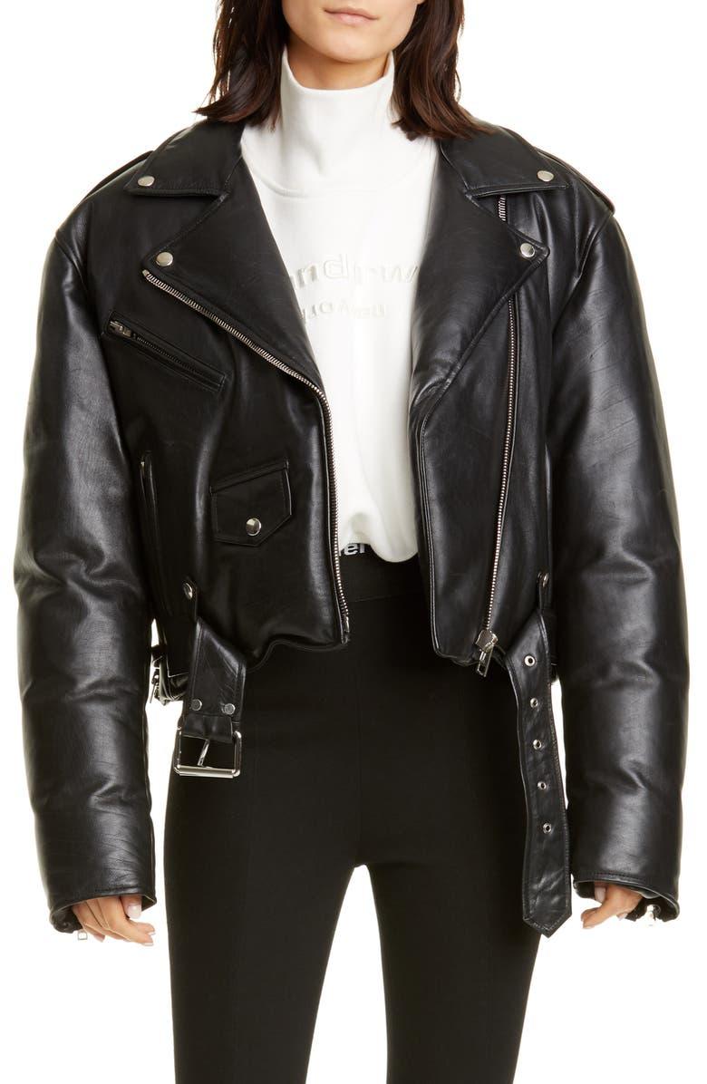 ALEXANDER WANG Padded Leather Biker Jacket, Main, color, BLACK
