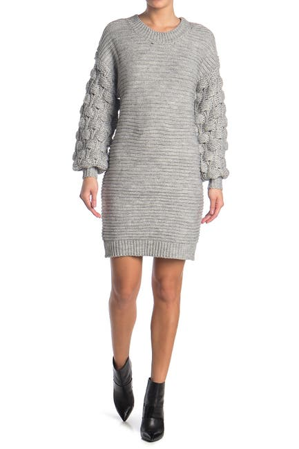 Image of dee elly Ribbed Balloon Sleeve Sweater Dress