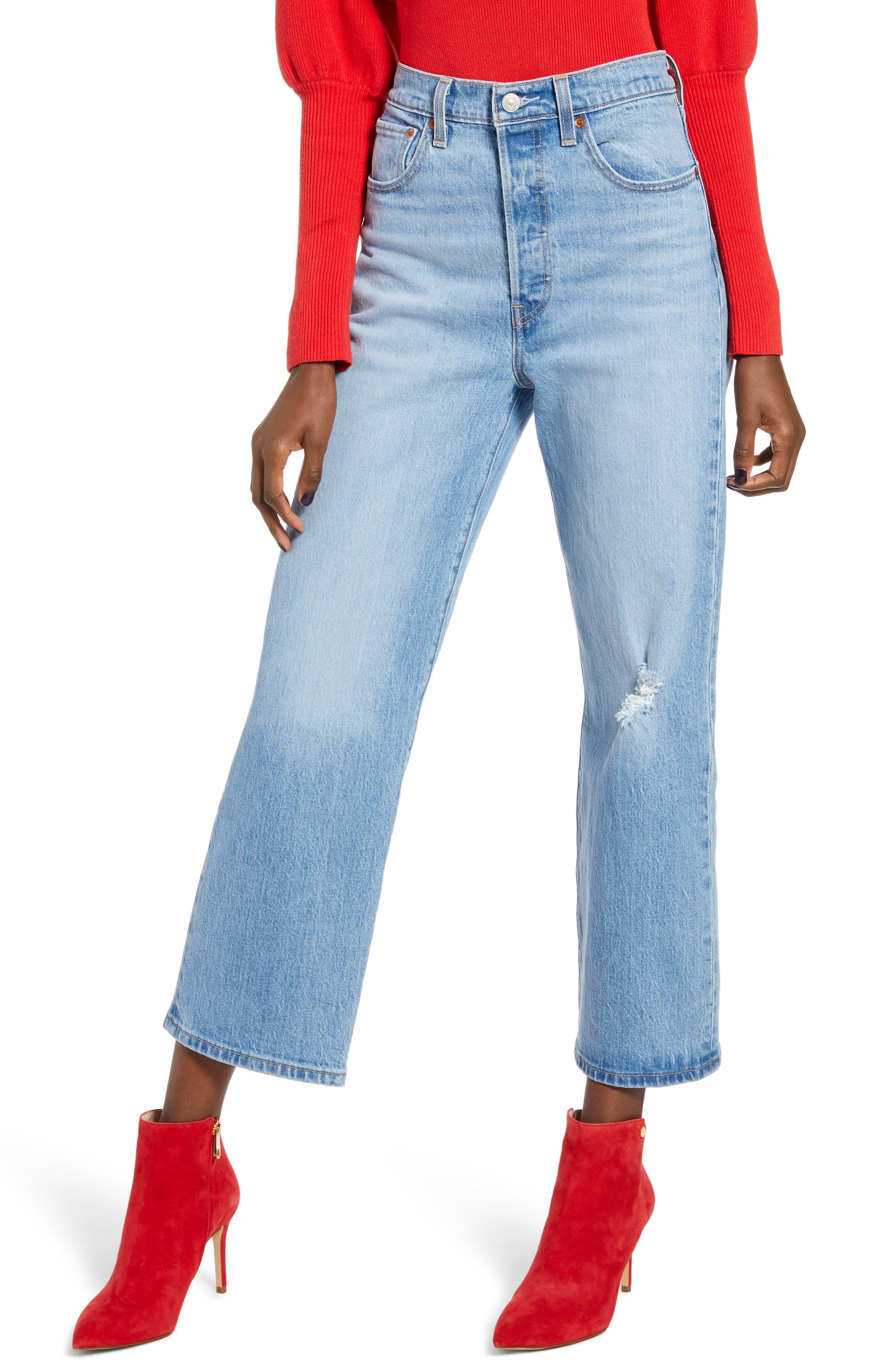 Levi's® Ribcage Super High Waist Ankle Straight Leg Jeans (Tango Blue)