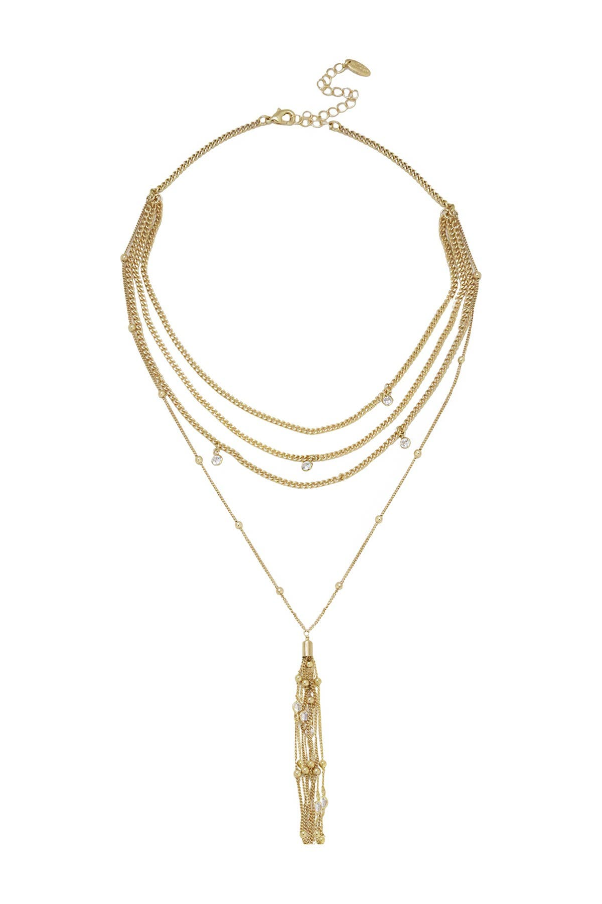 Image of Ettika 18K Gold Plated CZ Multi Chain Tassel Pendant Necklace