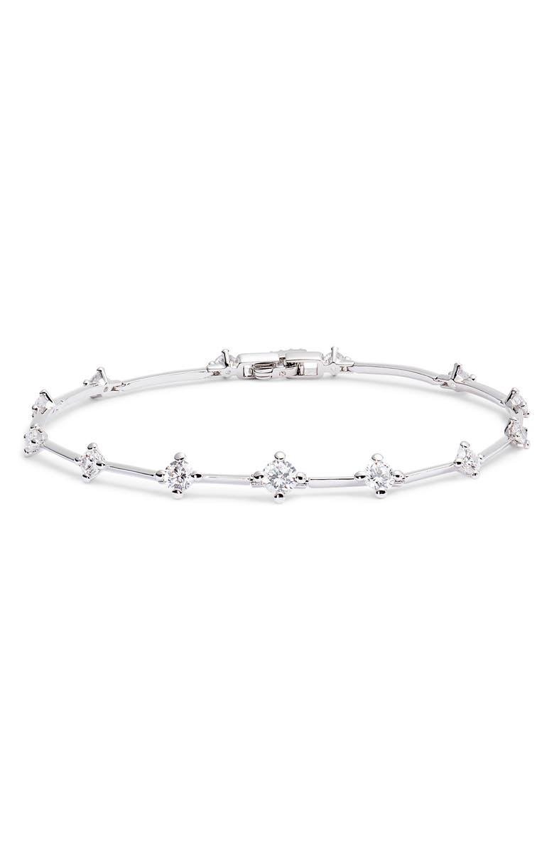 NADRI Issa Cubic Zirconia Line Bracelet, Main, color, RHODIUM