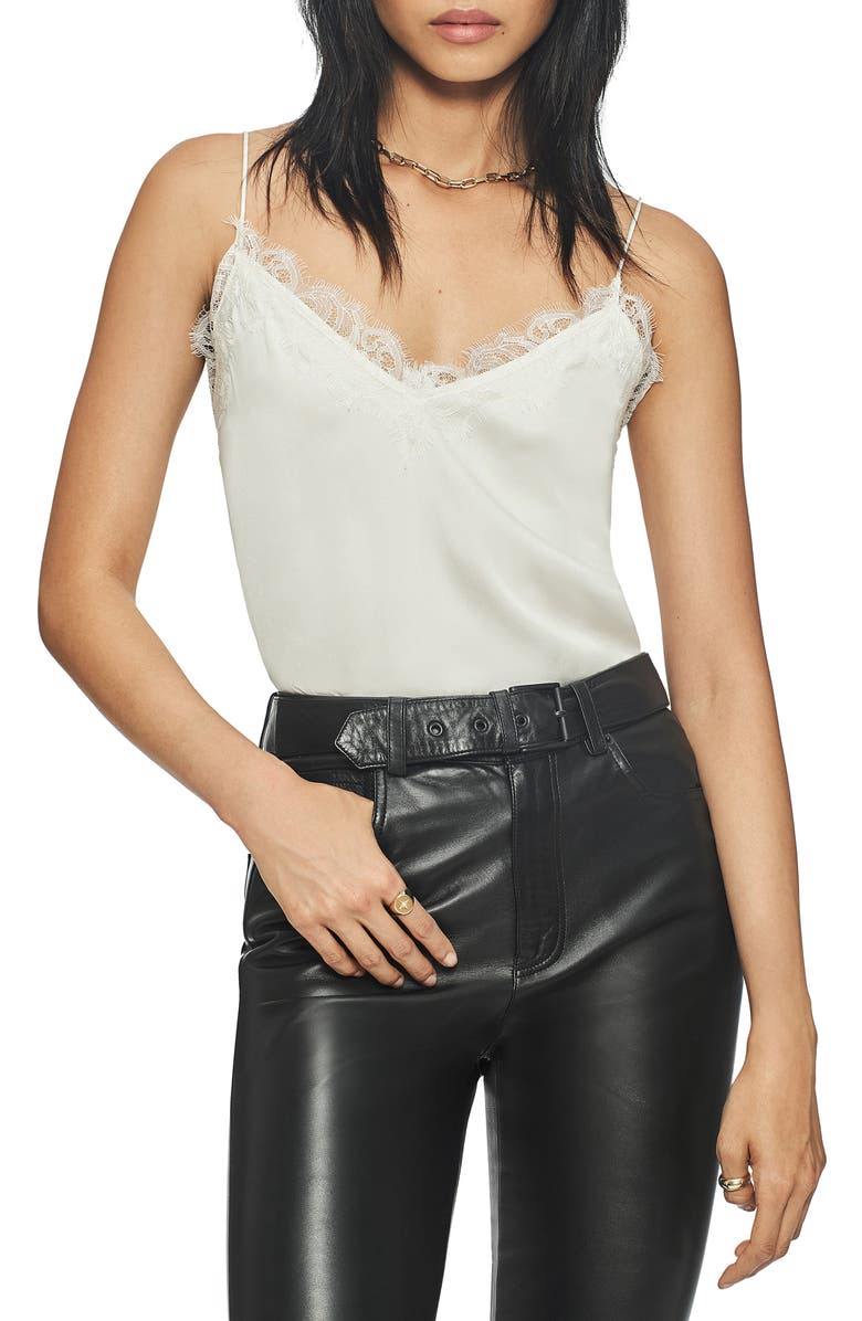 ANINE BING Belle Lace Trim Silk Camisole, Main, color, IVORY