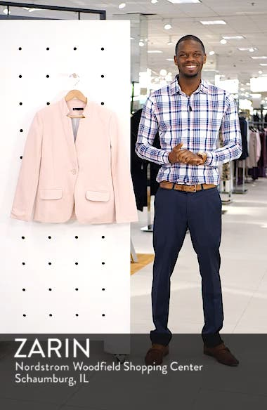 Notch Collar Cotton Blend Blazer, sales video thumbnail