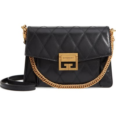Givenchy Small Gv3 Diamond Quilted Leather Crossbody Bag - Black