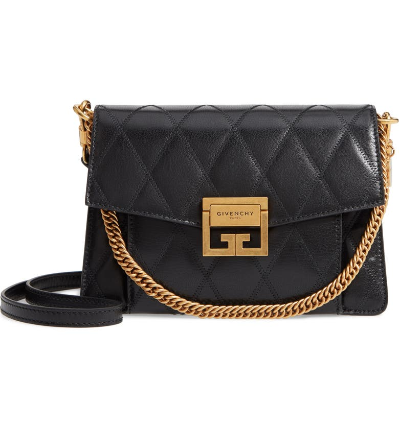 GIVENCHY Small GV3 Diamond Quilted Leather Crossbody Bag, Main, color, BLACK
