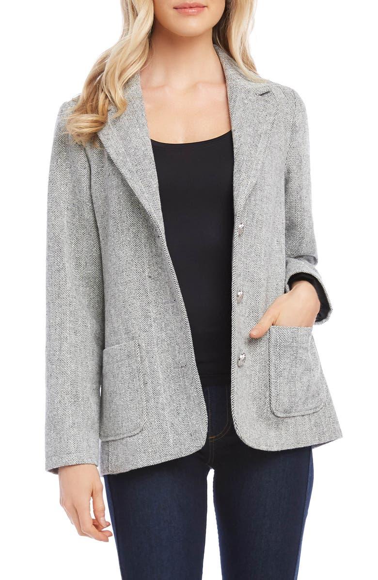 KAREN KANE Chevron Stripe Tweed Blazer, Main, color, BLACK WITH OFF WHITE