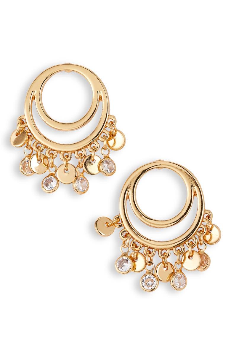 ETTIKA Cutout Charm Hoop Earrings, Main, color, GOLD