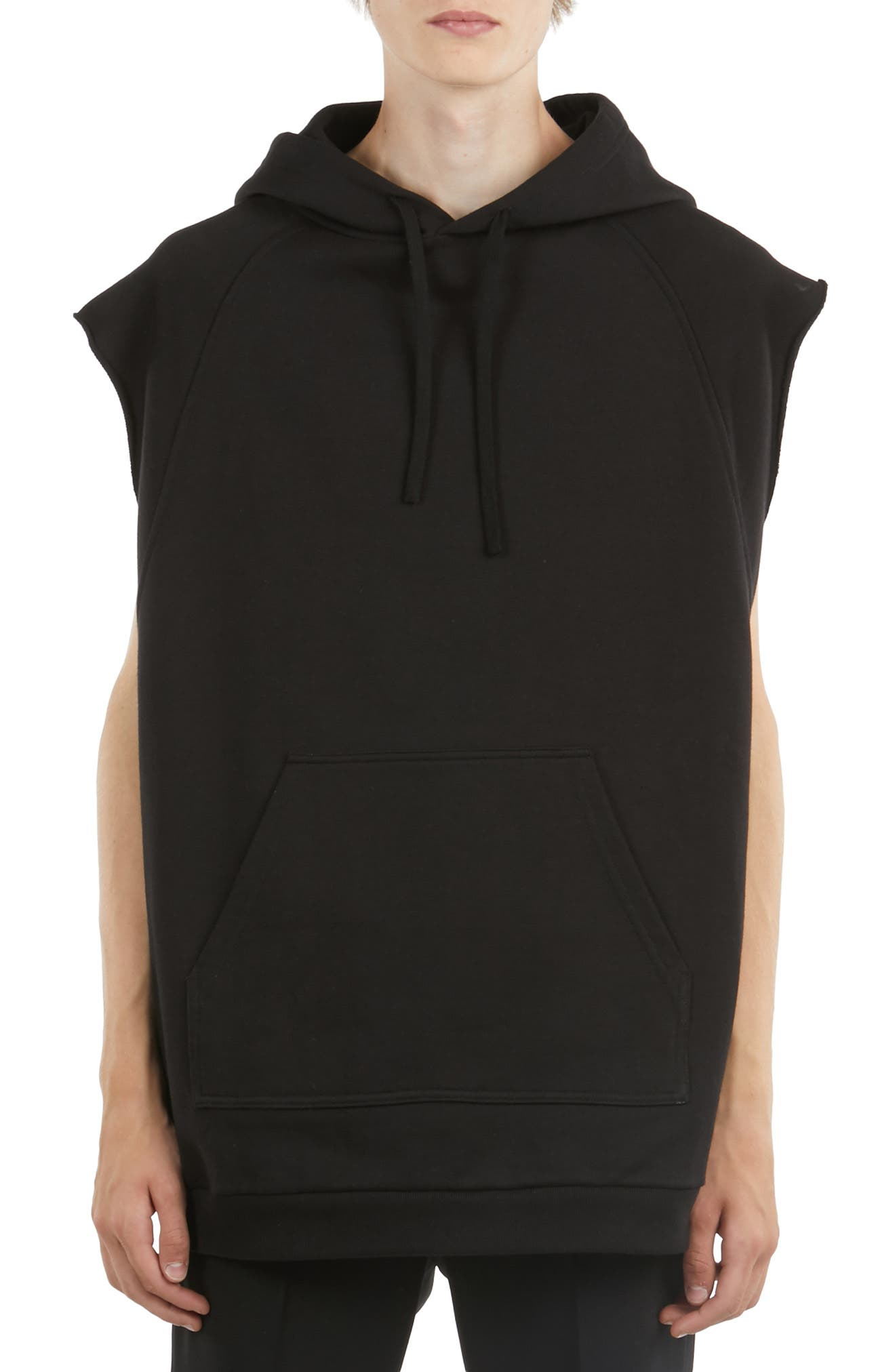 Sleeveless Graphic Hoodie, Main, color, BLACK GREEN