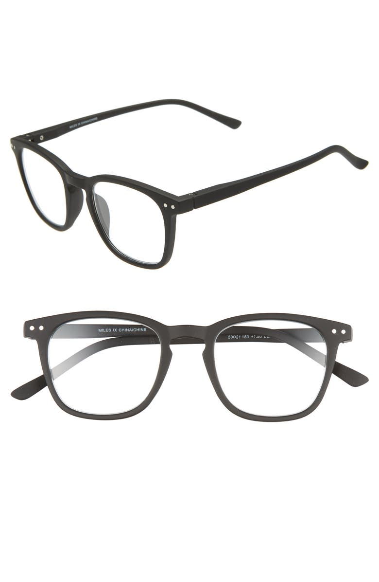 NORDSTROM MEN'S SHOP Miles 50mm Reading Glasses, Main, color, 001