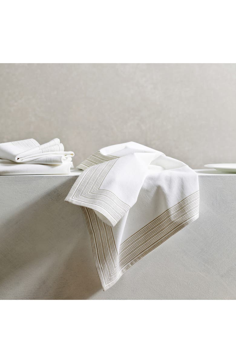 THE WHITE COMPANY Set of 4 Print Stripe Cotton Napkins, Main, color, WHITE/ NATURAL
