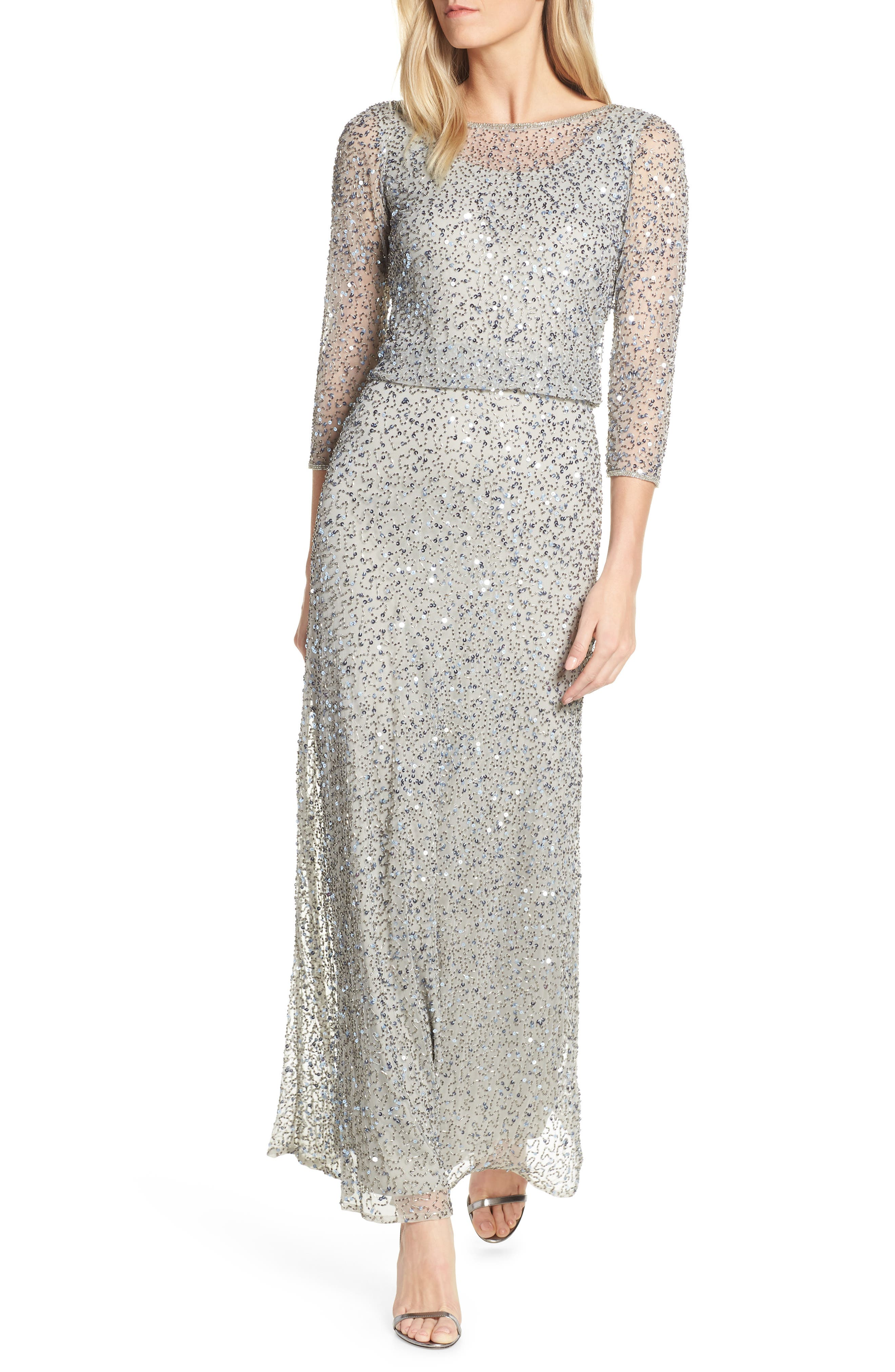 Plus Size Pisarro Nights Embellished Blouson Evening Dress, Metallic