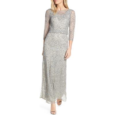 Pisarro Nights Embellished Blouson Evening Dress, Metallic