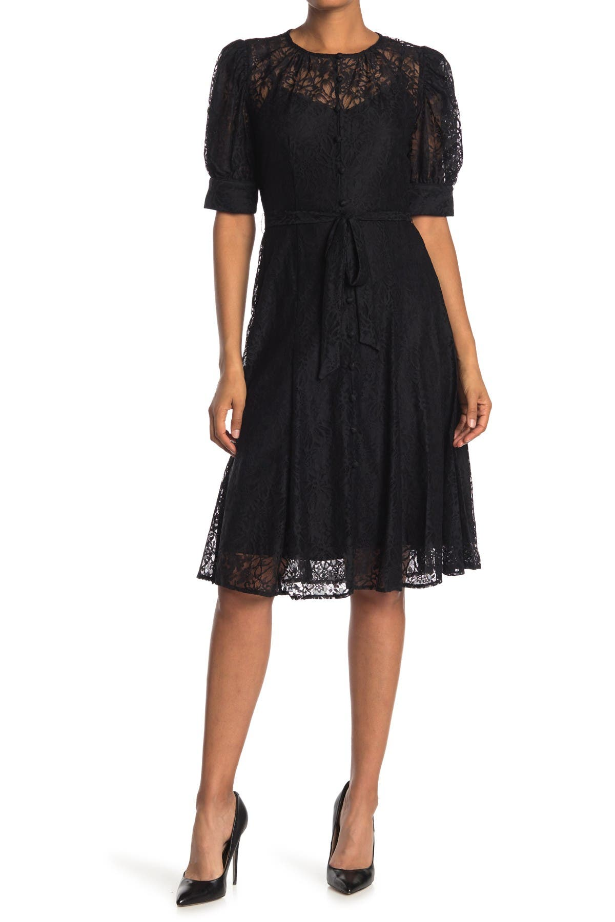 Image of Calvin Klein Short Sleeve Lace Midi Dress