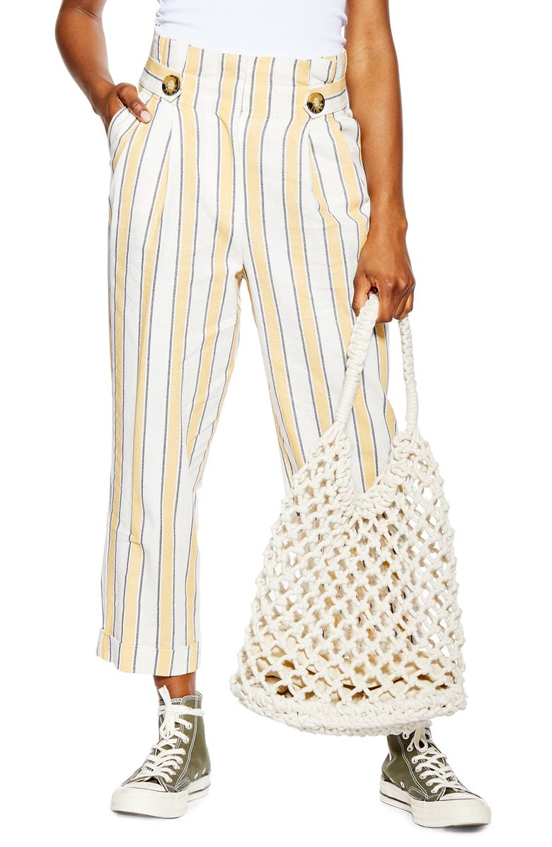 TOPSHOP Stripe Trousers, Main, color, LIGHT YELLOW MULTI