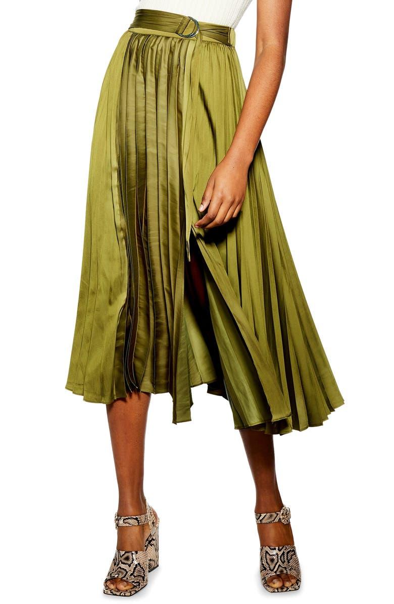 TOPSHOP Pleated Satin Midi Skirt, Main, color, 300