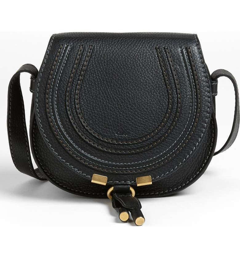 CHLOÉ 'Mini Marcie' Leather Crossbody Bag, Main, color, BLACK GOLD HRDWRE