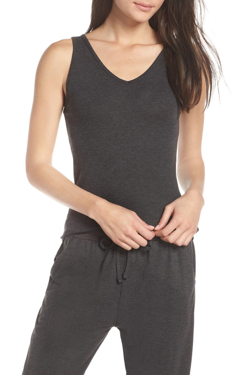 TOMMY JOHN Lounge Tank, Main, color, CHARCOAL HEATHER