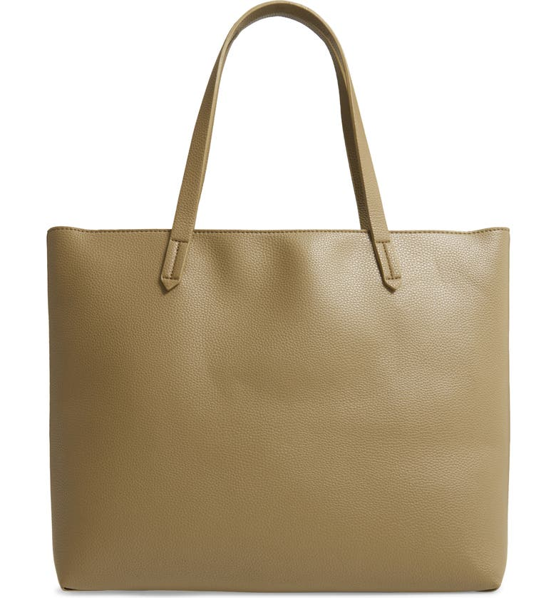 BP. Faux Leather Classic Tote, Main, color, OLIVE COVERT