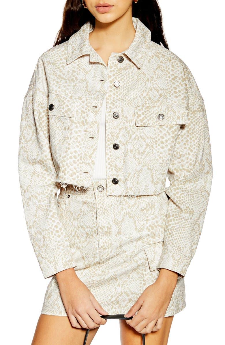 TOPSHOP Snake Print Crop Denim Jacket, Main, color, WHITE MULTI