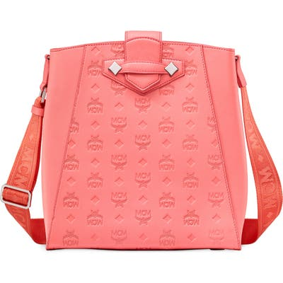 Mcm Small Essential Monogram Leather Bucket Bag - Pink