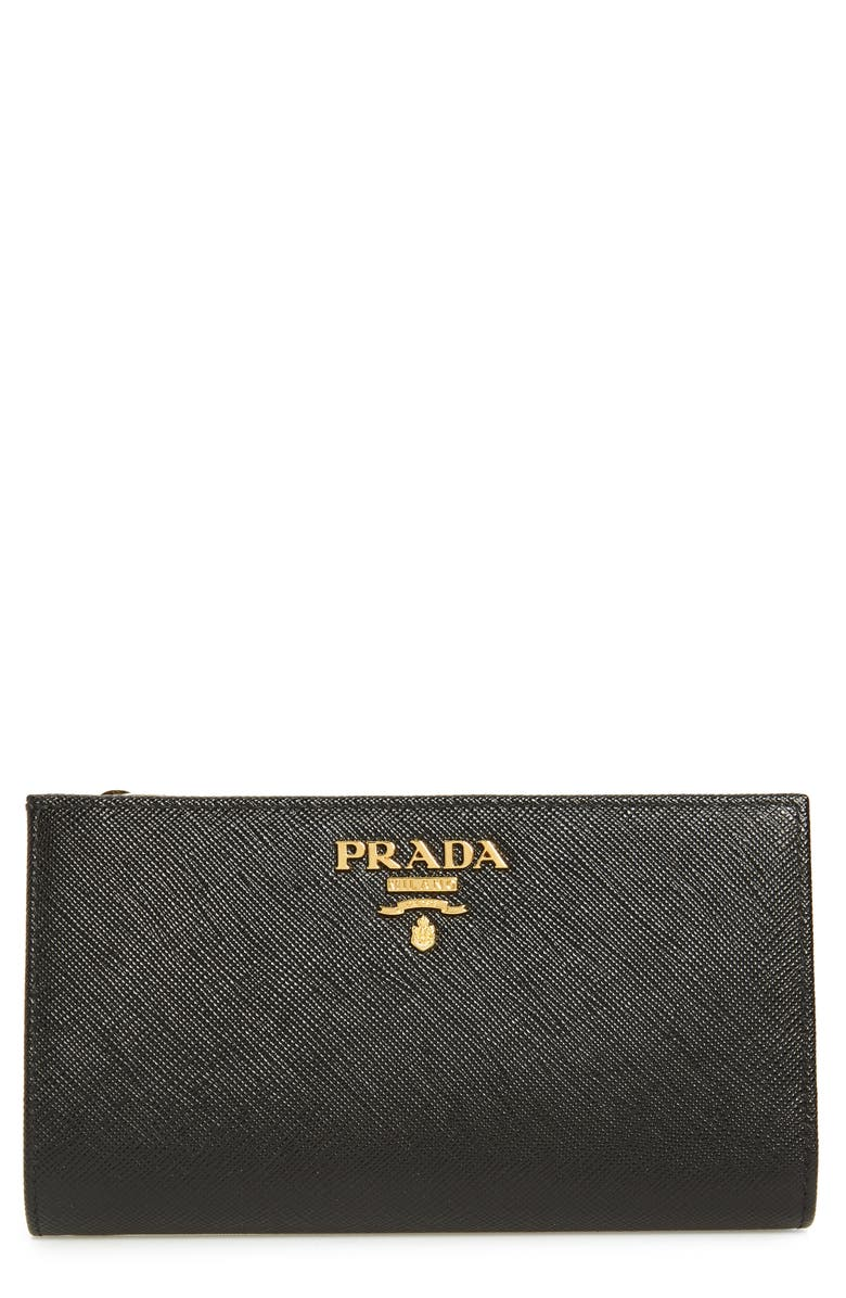 PRADA Saffiano Leather French Wallet, Main, color, 001