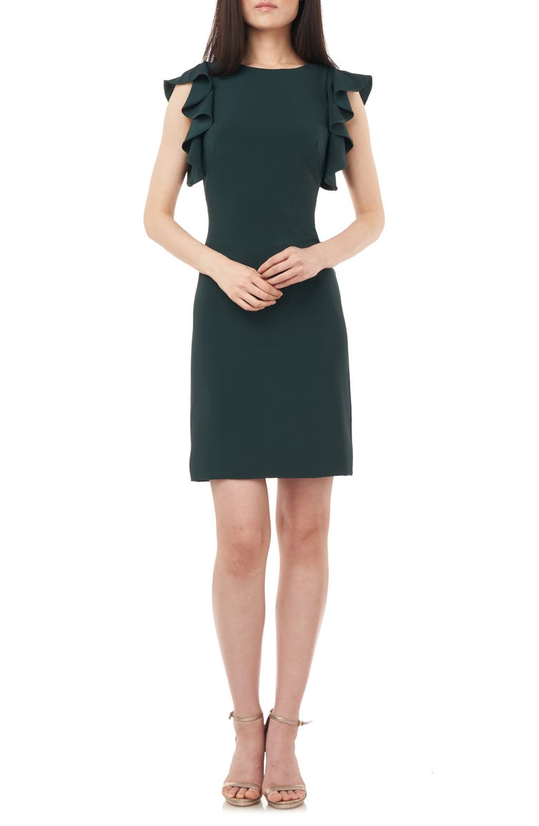 LOVE BY THEIA Ruffle Framed Crepe Cocktail Dress, Main, color, HUNTER