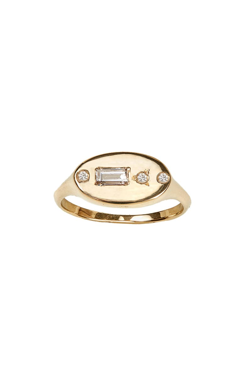 WWAKE Diamond Signet Ring, Main, color, YELLOW GOLD/ DIAMONDS