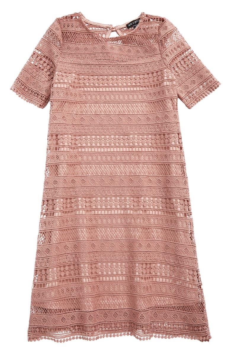 AVA & YELLY Lace Stripe Shift Dress, Main, color, 650