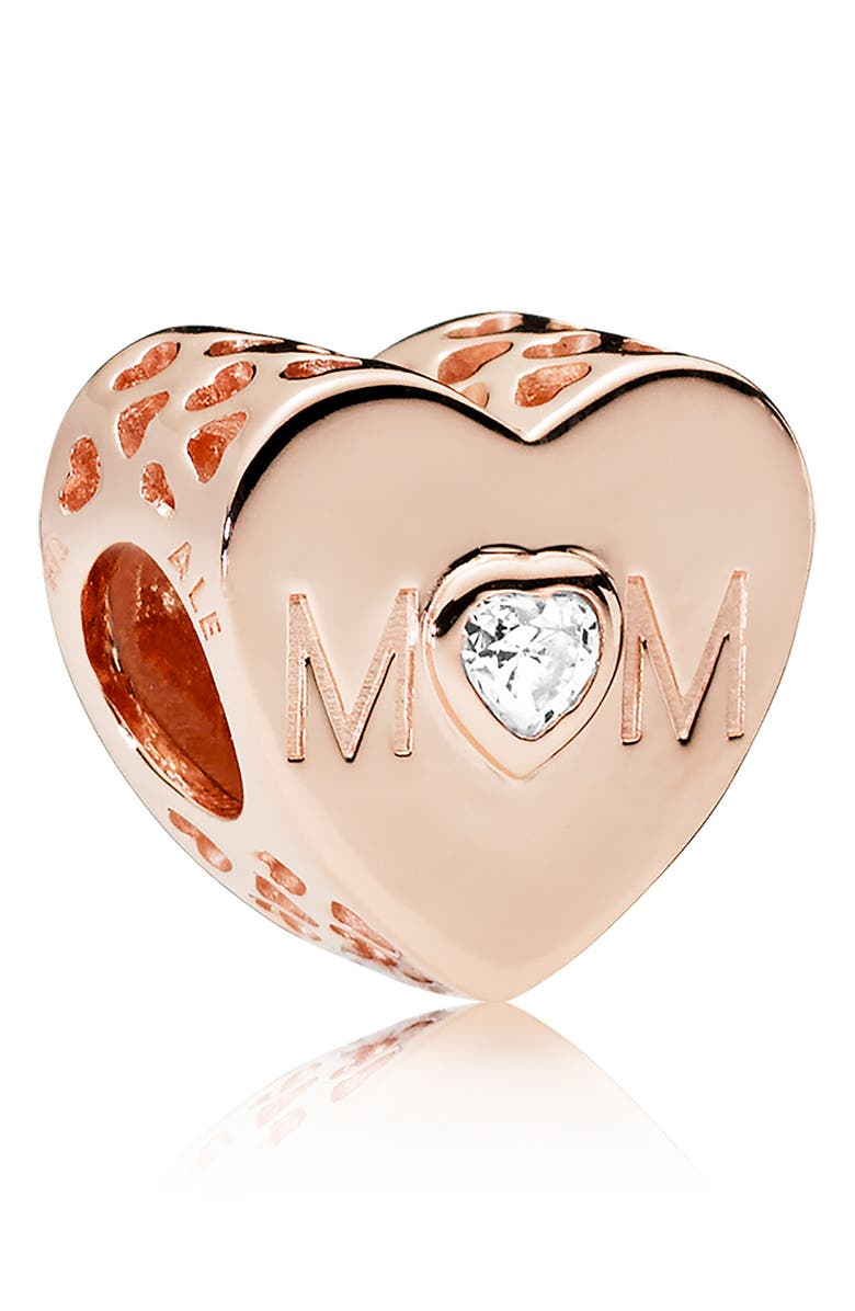 PANDORA Rose Mother Heart Charm, Main, color, ROSE GOLD