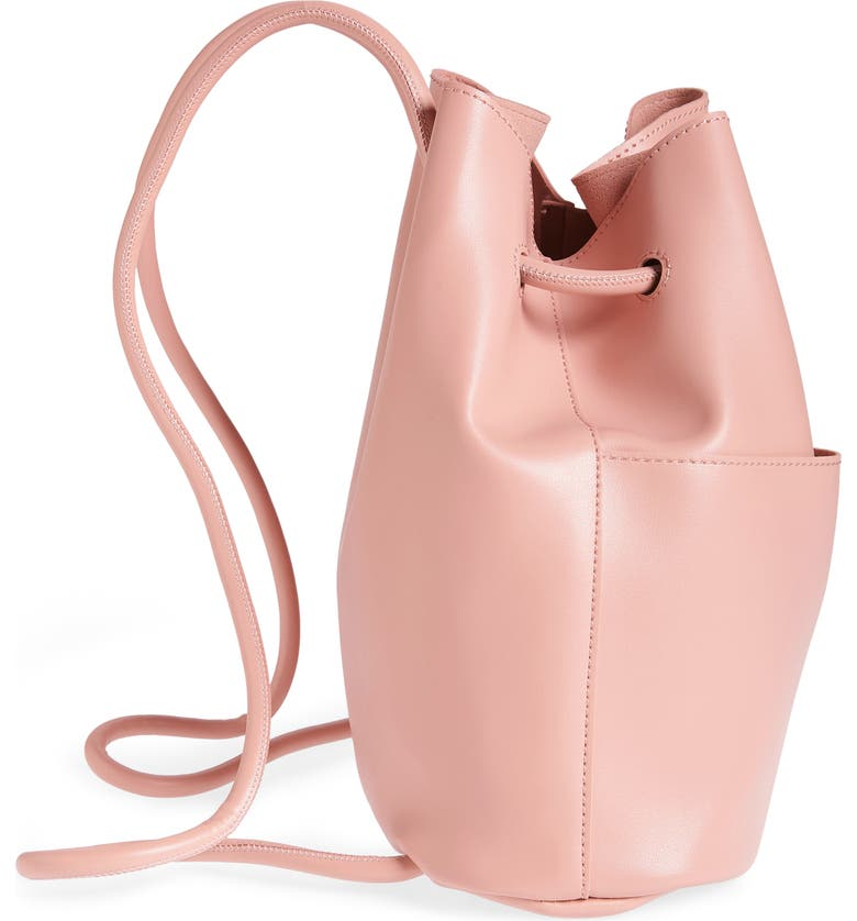 BP. Faux Leather Drawstring Backpack, Alternate, color, PINK ROSECLOUD METALLIC