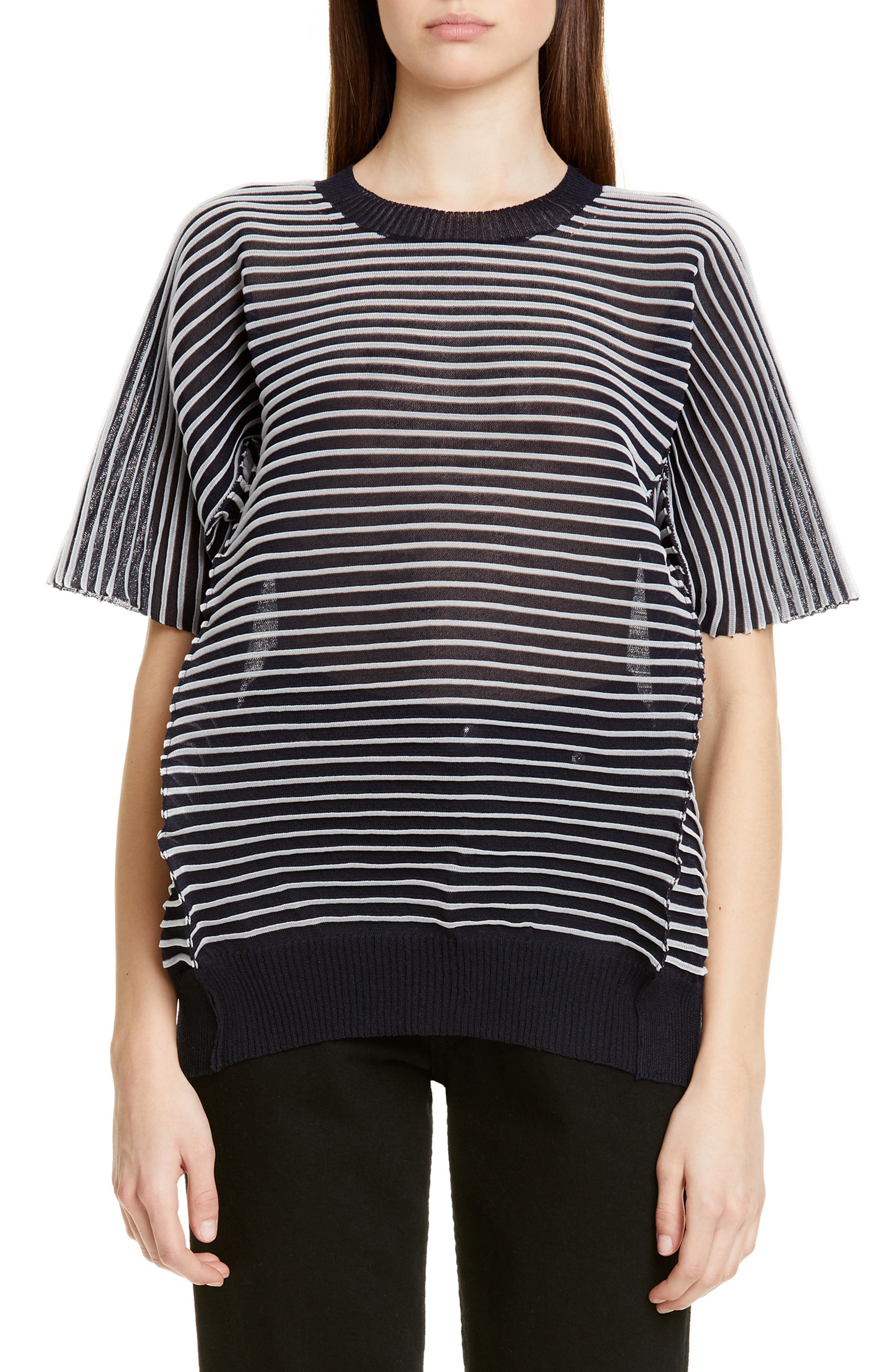 ,                             Ottoman Stripe Sweater,                             Main thumbnail 1, color,                             NAVY X CLEAR