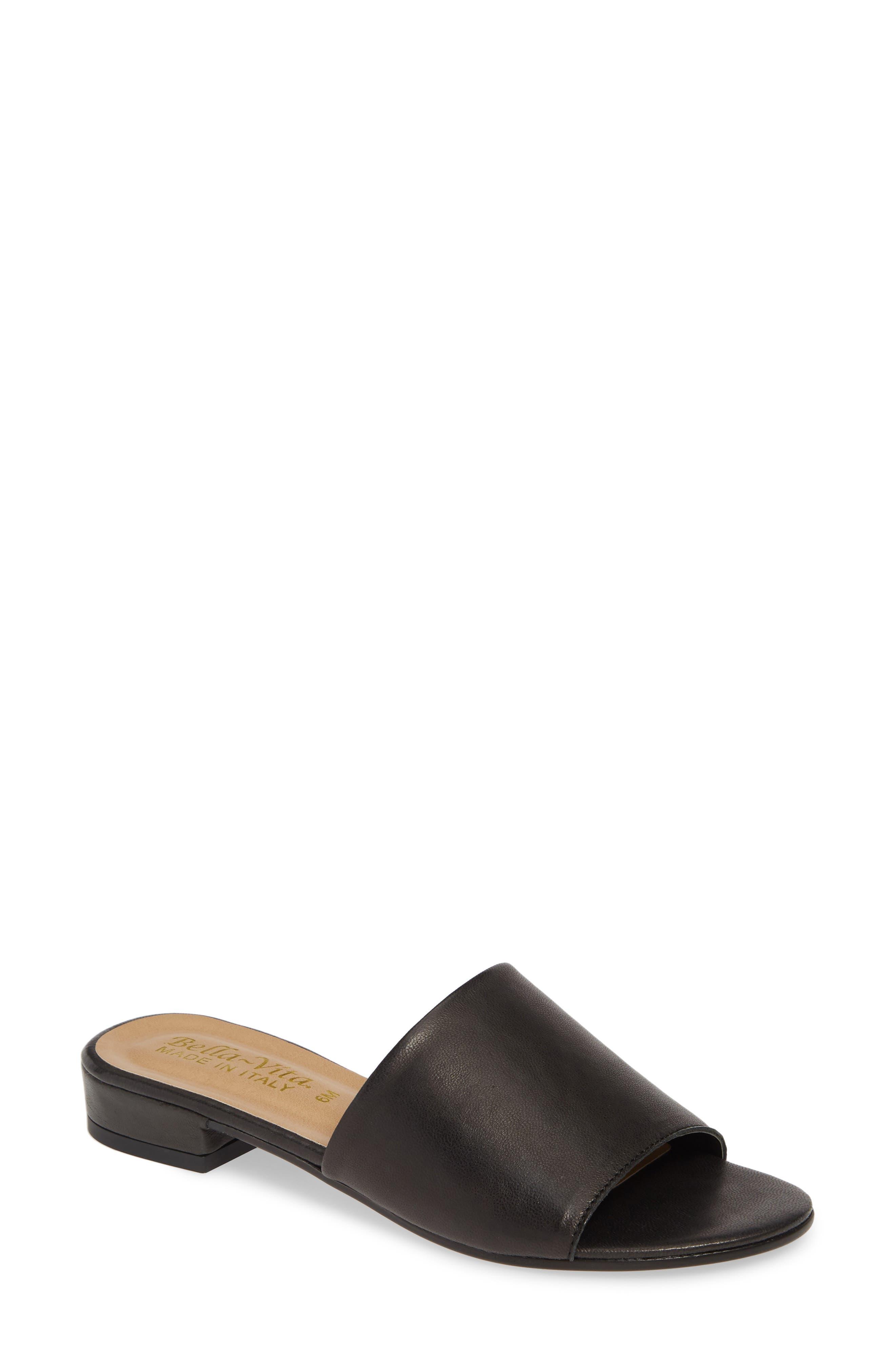 ,                             Slide Sandal,                             Main thumbnail 1, color,                             BLACK ITALIAN LEATHER