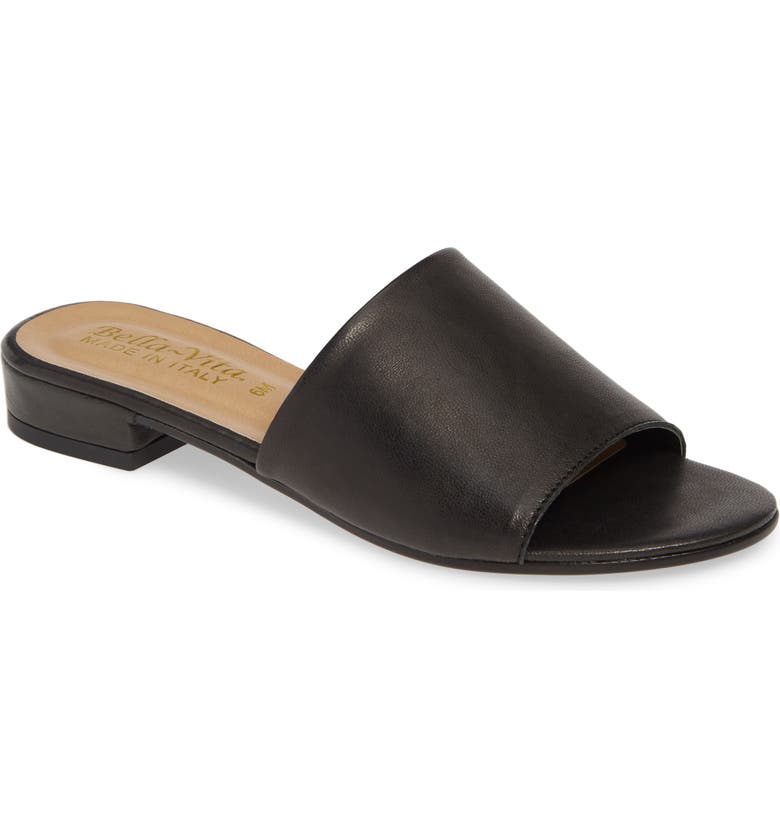 BELLA VITA Slide Sandal, Main, color, BLACK ITALIAN LEATHER