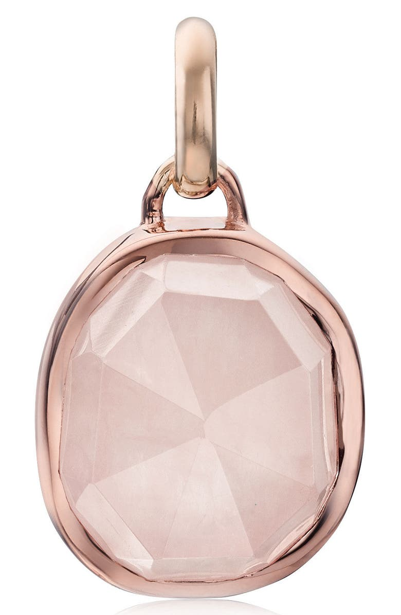 MONICA VINADER Siren Semiprecious Stone Pendant Charm, Main, color, ROSE GOLD/ ROSE QUARTZ