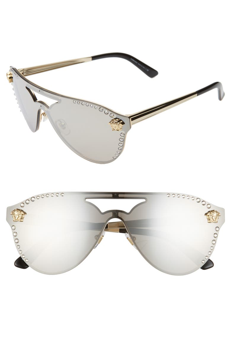 VERSACE Medusa 60mm Crystal Shield Sunglasses, Main, color, 045