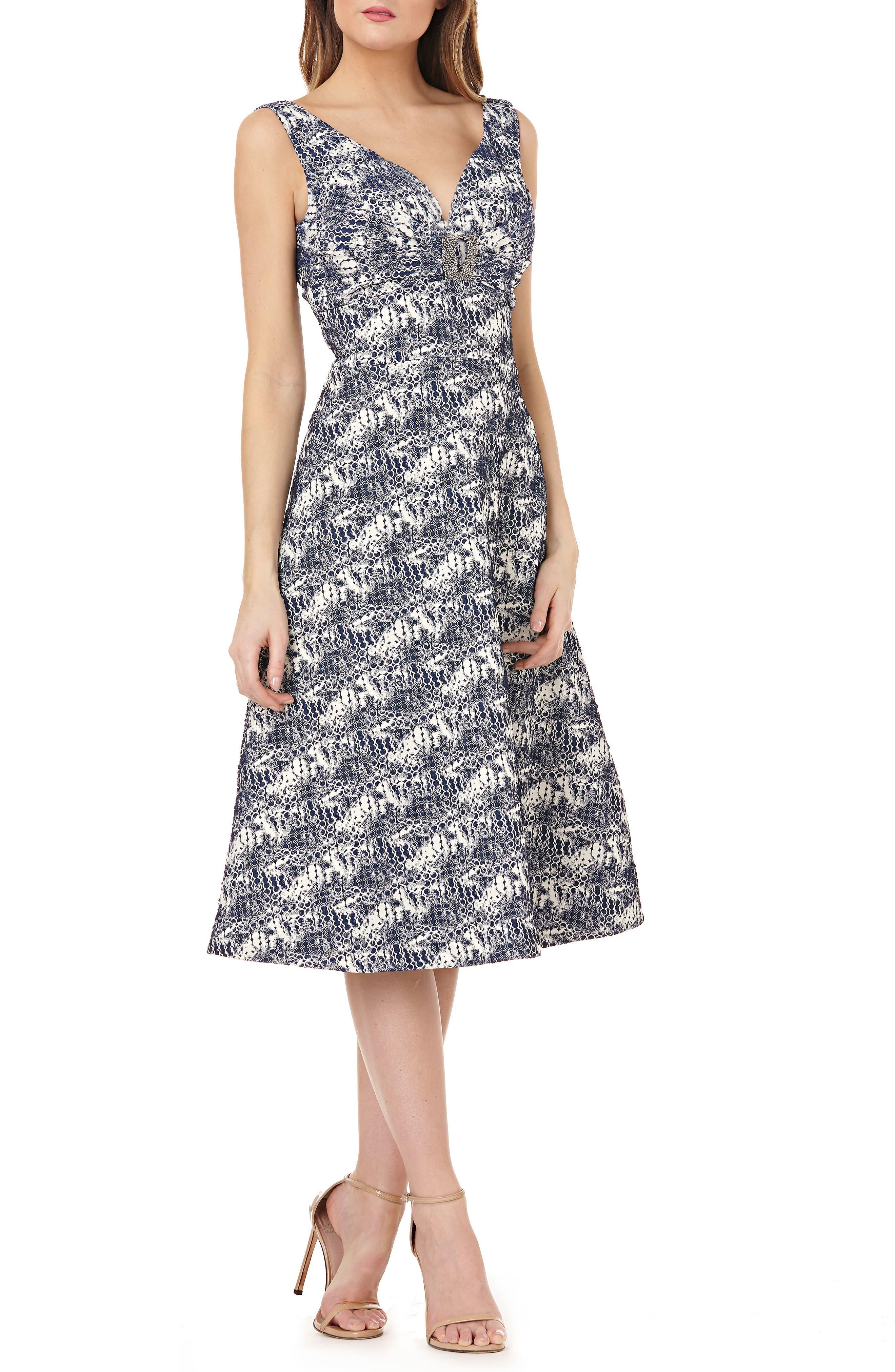 Kay Unger Sleeveless Jacquard A-Line Tea Length Dress, Blue