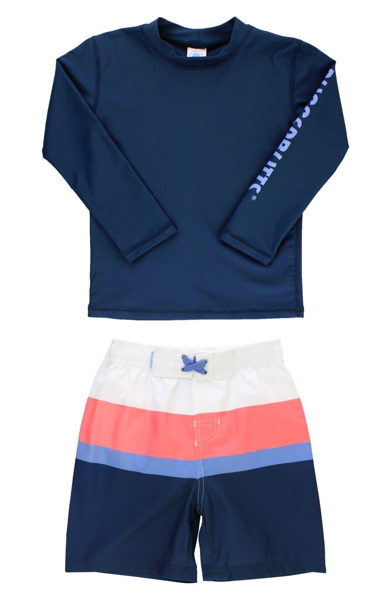 RUGGEDBUTTS Colorblock Two-Piece Rashguard Swimsuit, Main, color, NAVY