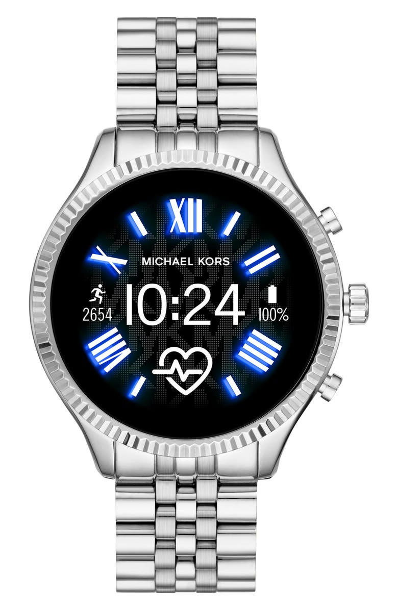 MICHAEL KORS ACCESS Michael Kors Gen 5 Lexington Bracelet Smart Watch, 44mm, Main, color, SILVER/ COLOR DISPLAY/ SILVER