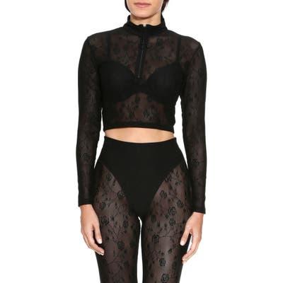 Adam Selman Sport Long Sleeve Crop Quarter Zip Pullover, Black