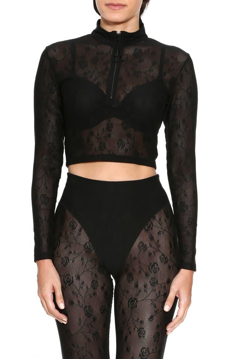 ADAM SELMAN SPORT Long Sleeve Crop Quarter Zip Pullover, Main, color, BLACK