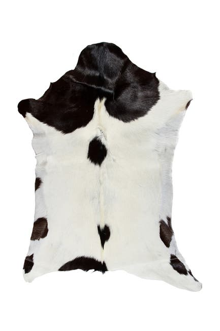 Image of Natural Calfskin Throw - White/Chocolate - 2ft x 3ft