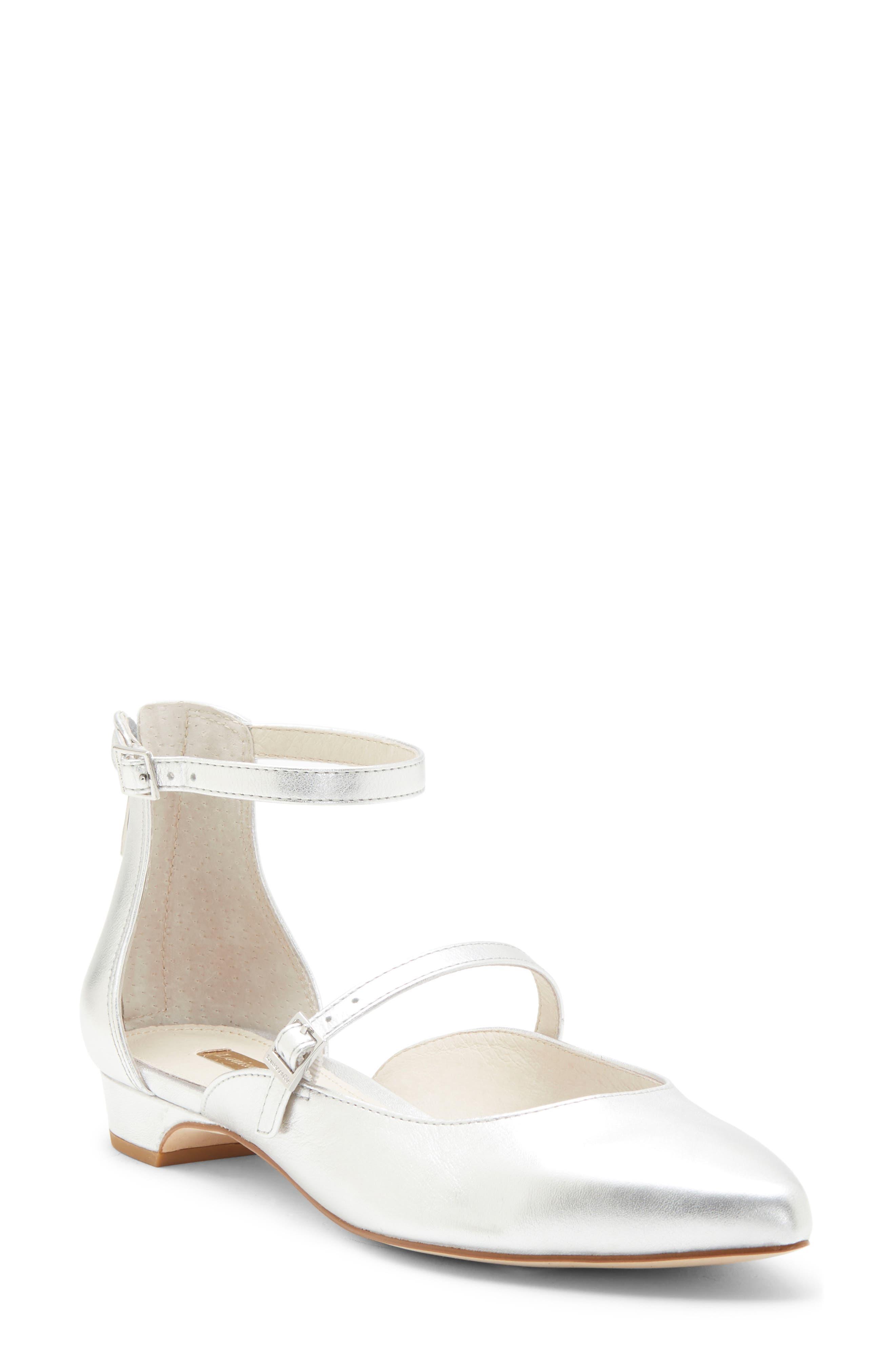 Louise Et Cie Claire Ankle Strap Flat, Metallic