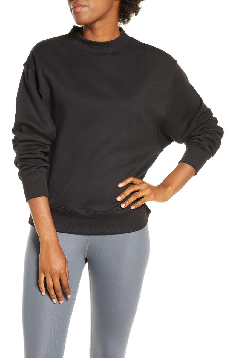 ALO Freestyle Mock Neck Sweatshirt, Main, color, BLACK