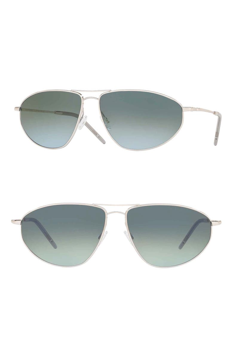OLIVER PEOPLES Kallen 62mm Oversize Aviator Sunglasses, Main, color, SILVER