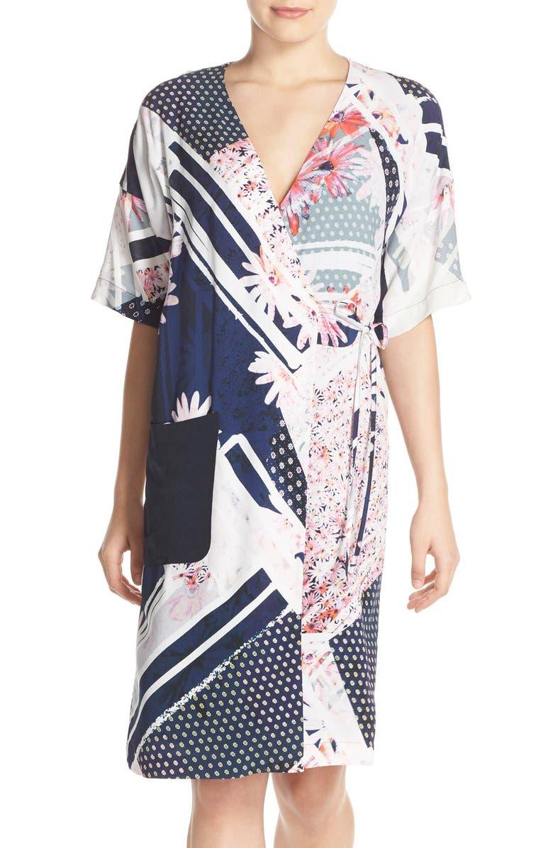 FRENCH CONNECTION Print Crepe Faux Wrap Dress, Main, color, 420