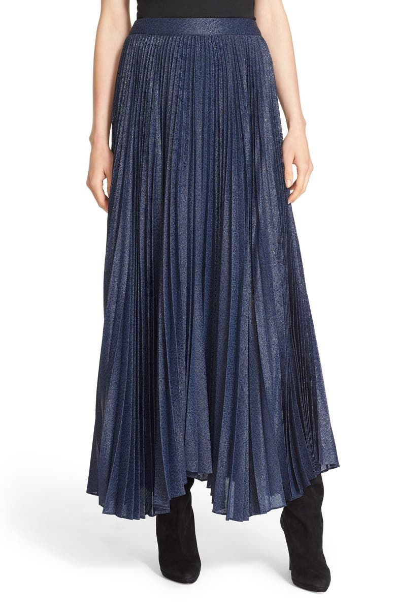 ALICE + OLIVIA 'Katz' Metallic Pleat Maxi Skirt, Main, color, 400