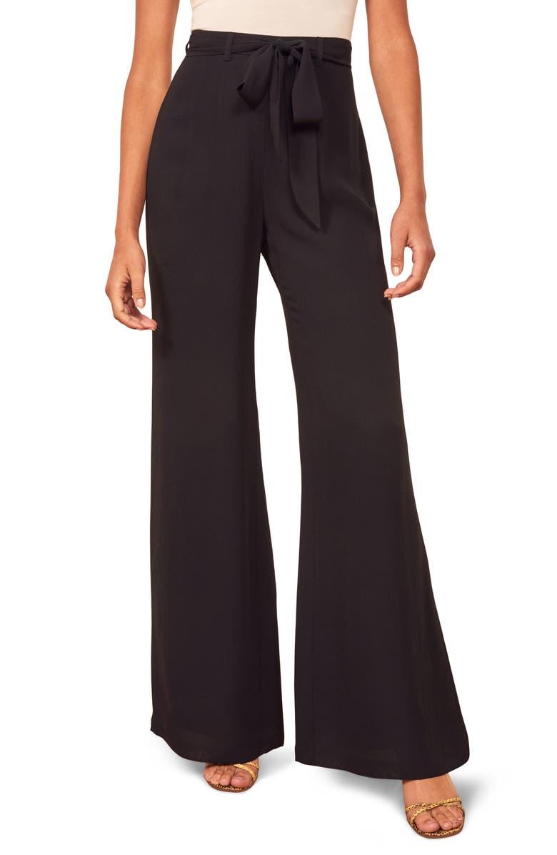 REFORMATION Starry Tie Waist Wide Leg Pants, Main, color, BLACK