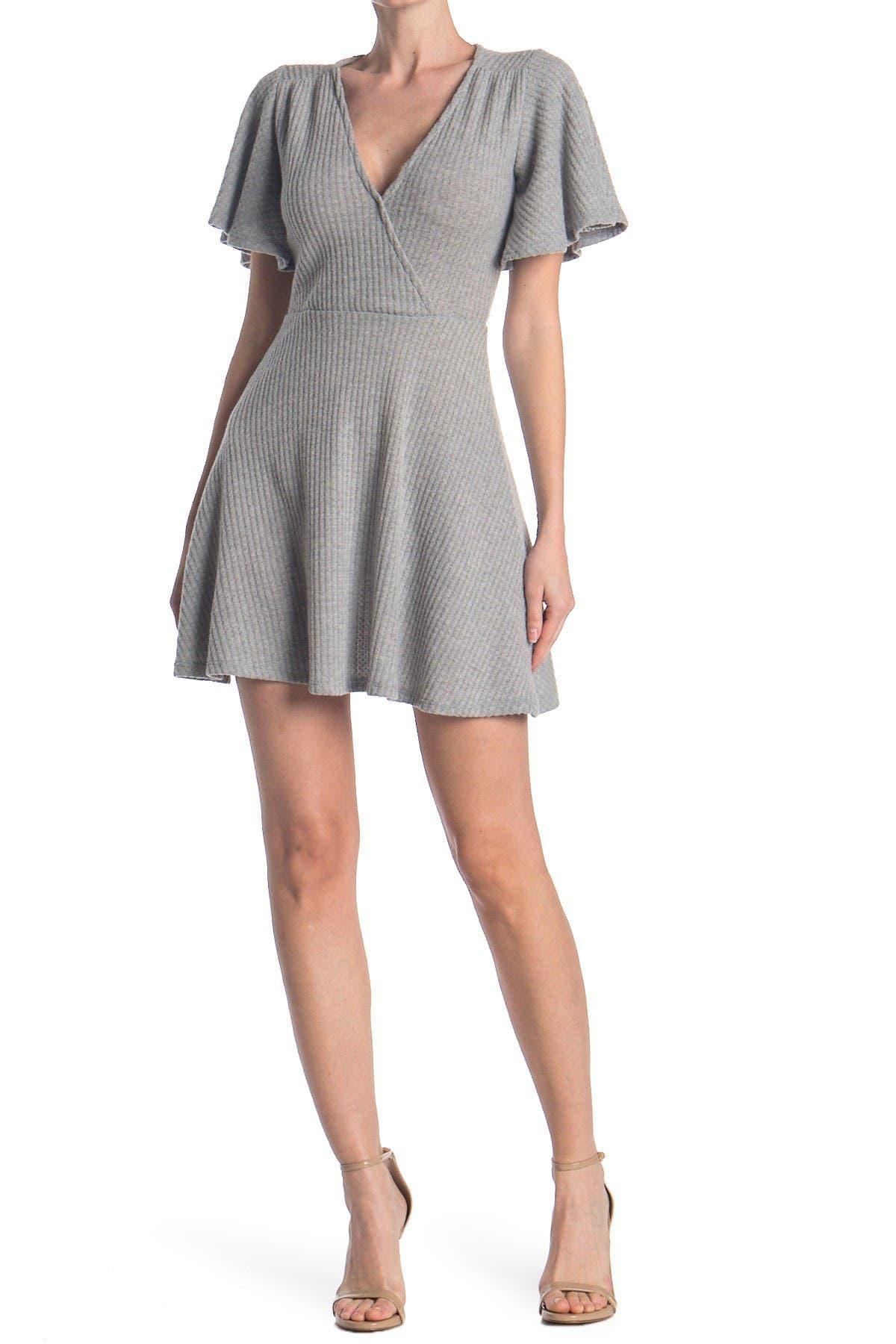 Image of Velvet Torch Rib Knit Faux Wrap Dress