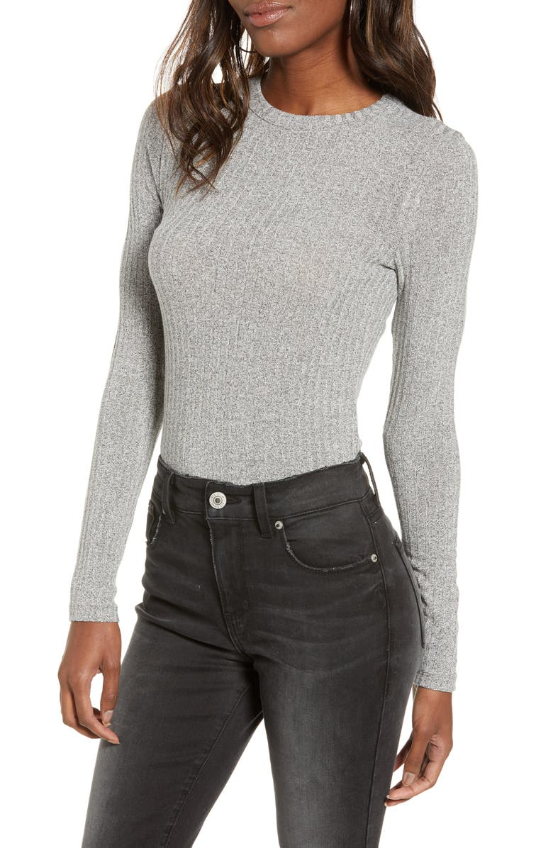 BP. Long Sleeve Rib Tee, Main, color, GREY CLOUDY HEATHER MARL