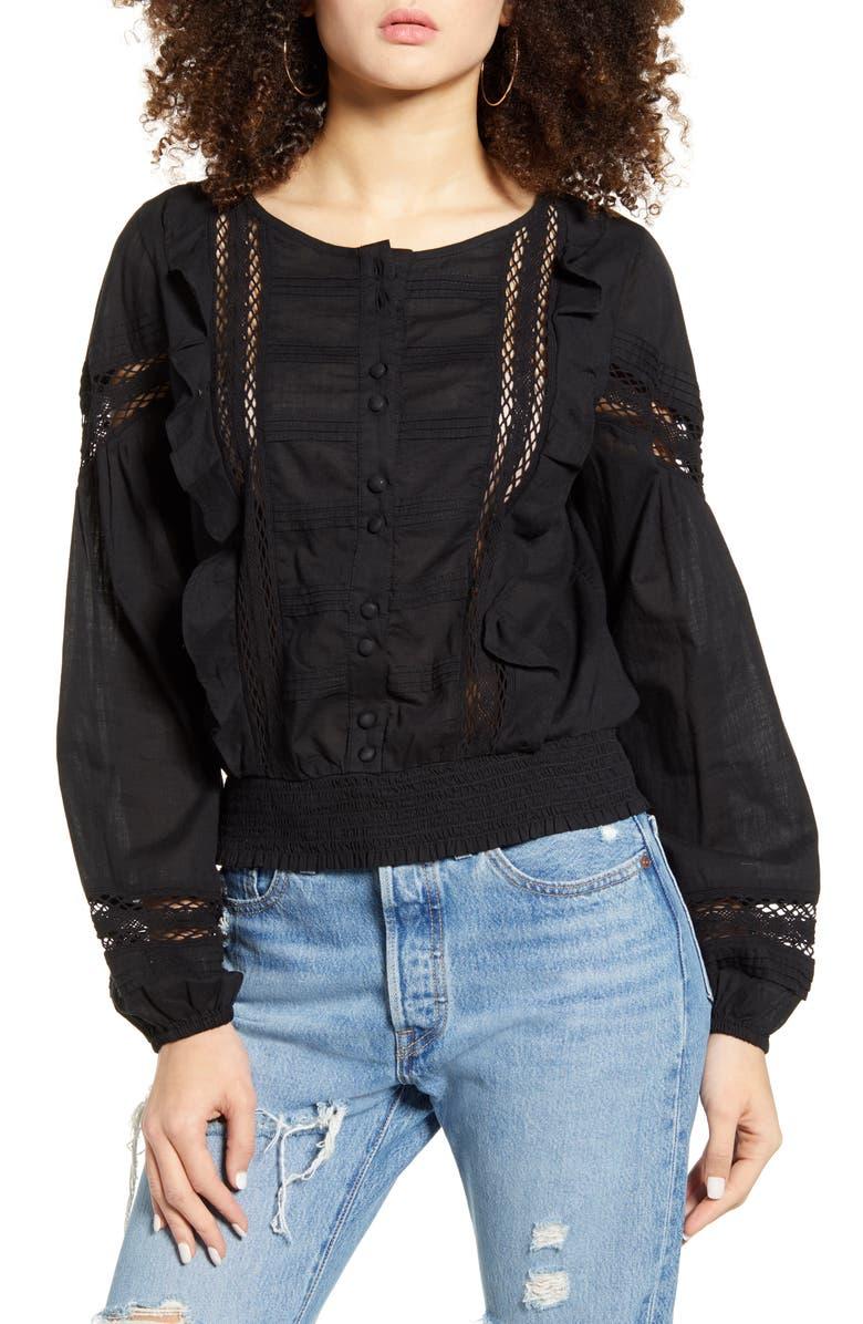 BP. Romantic Smocked Top, Main, color, BLACK
